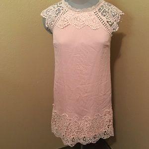 Pink Coconut Boutique Linen & Lace Sheath Dress S